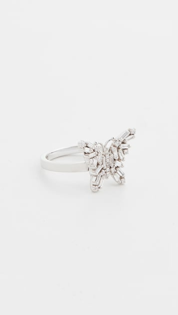 Suzanne Kalan 18k White Gold Fireworks Small Butterfly Ring