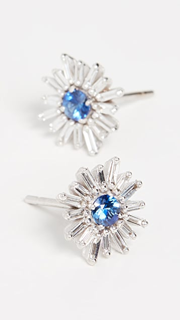 Suzanne Kalan 18k White Gold Blue Sapphire & Diamond Earrings