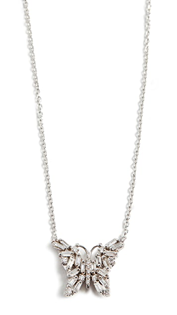 Suzanne Kalan 18k White Gold Fireworks Small Butterfly Necklace