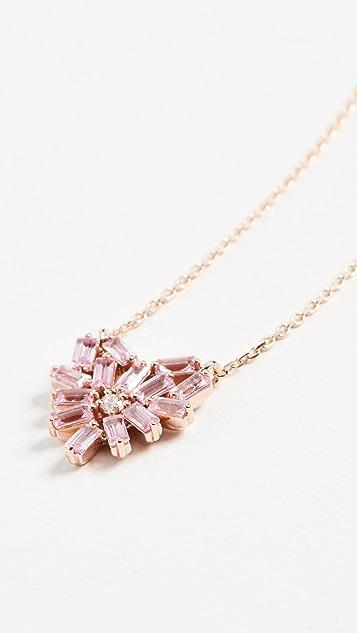Suzanne Kalan 18k 玫瑰金烟花小号粉色蓝宝石心形吊坠项链