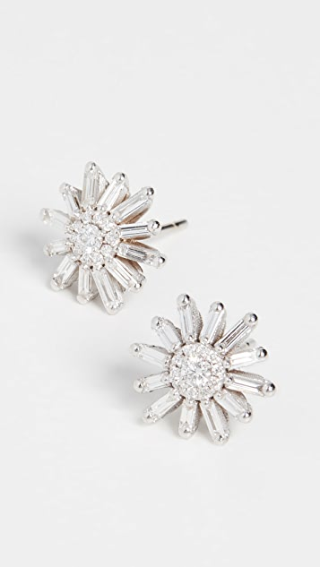 Suzanne Kalan 18k White Gold Fireworks Diamond Flower Stud Earrings