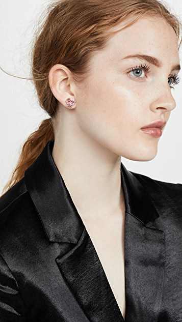 Suzanne Kalan 18k Rose Gold Fireworks Pink Sapphire Heart Stud Earrings