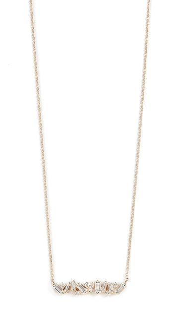 Suzanne Kalan 18k 黄金烟花长方形宝石和钻石项链