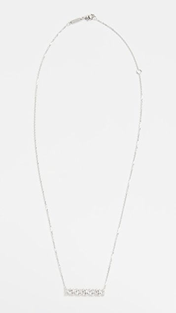 Suzanne Kalan 18k White Gold Shimmer Bar Necklace
