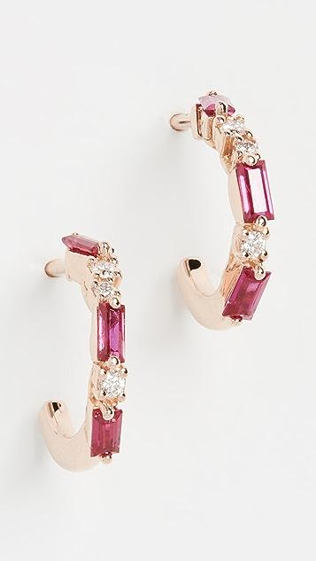 Suzanne Kalan 18k 玫瑰金烟花红宝石小号圈式耳环