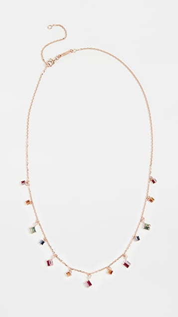 Suzanne Kalan 18k Rose Gold Rainbow Dangle Necklace