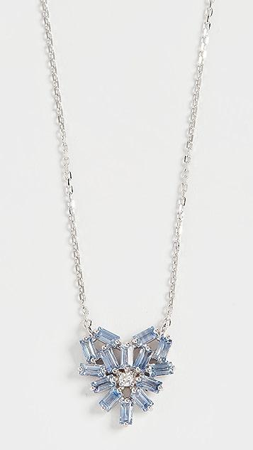 Suzanne Kalan 18k 白金烟花蓝宝石小号浅蓝色蓝宝石心形项链