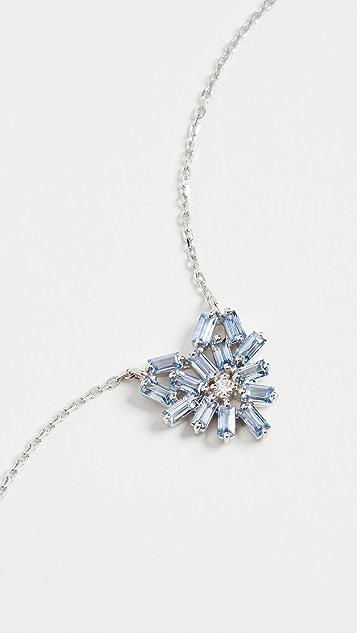 Suzanne Kalan 18k White Gold Fireworks Small Light Blue Sapphire Heart Necklace