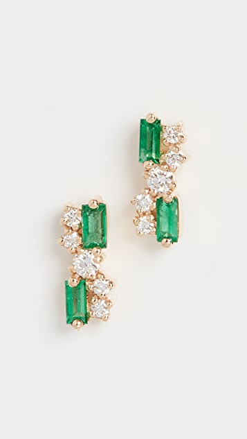 Suzanne Kalan 18k Yellow Gold Fireworks Emerald Stud Earrings