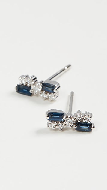 Suzanne Kalan 18k White Gold Blue Sapphire and Diamond Earrings
