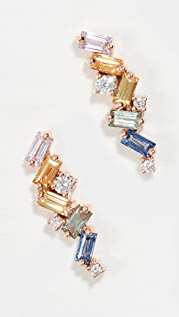Suzanne Kalan 18k Rose Gold Pastel Fireworks ZigZag Earrings
