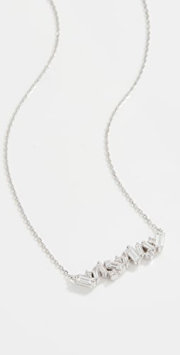 Suzanne Kalan - 18k White Gold Fireworks Baguette & Diamond Bar Necklace