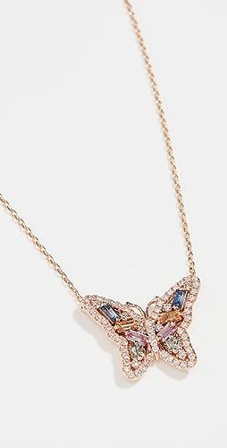 Suzanne Kalan - 18k Rose Gold Pastel Fireworks Butterfly Necklace