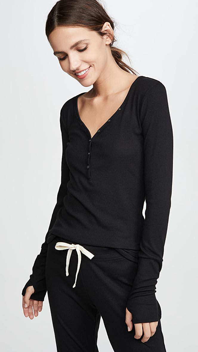 Lace Detail Thumbhole Henley Black