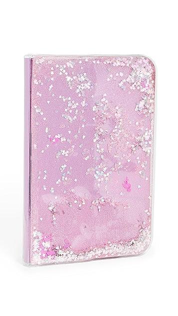 Skinnydip Pink Flamingo Liquid Glitter Notebook