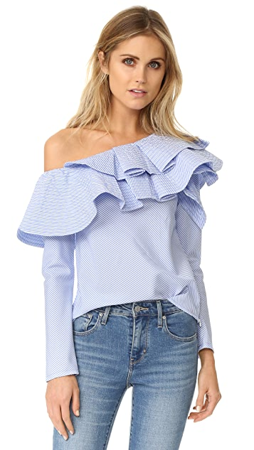 STYLEKEEPERS Ruffle One Shoulder Top