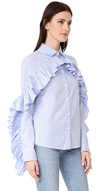 STYLEKEEPERS Don't Forget Me Ruffle Button Down