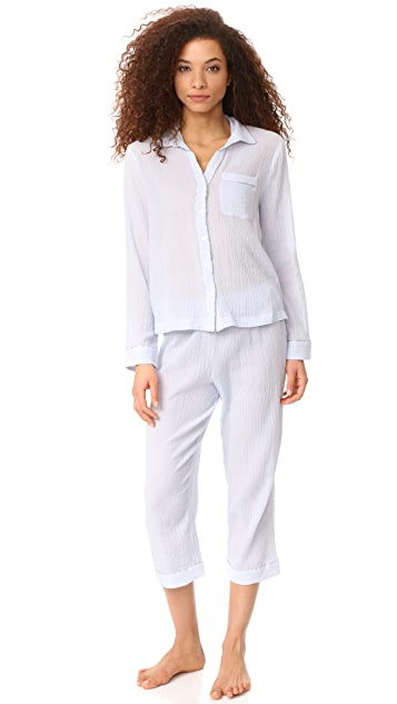 Skin PJ Crop Pants with Piping