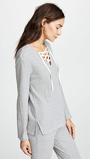 Skin Elyse Lace Up Top