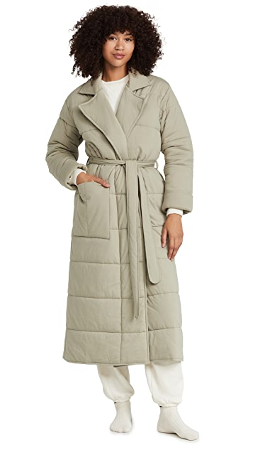 Skin Sonya Quilted Robe with Eye Mask