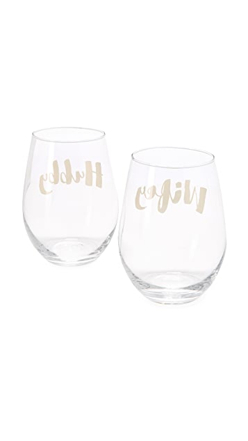 Slant Collections Wifey Hubby Wine Glass Set