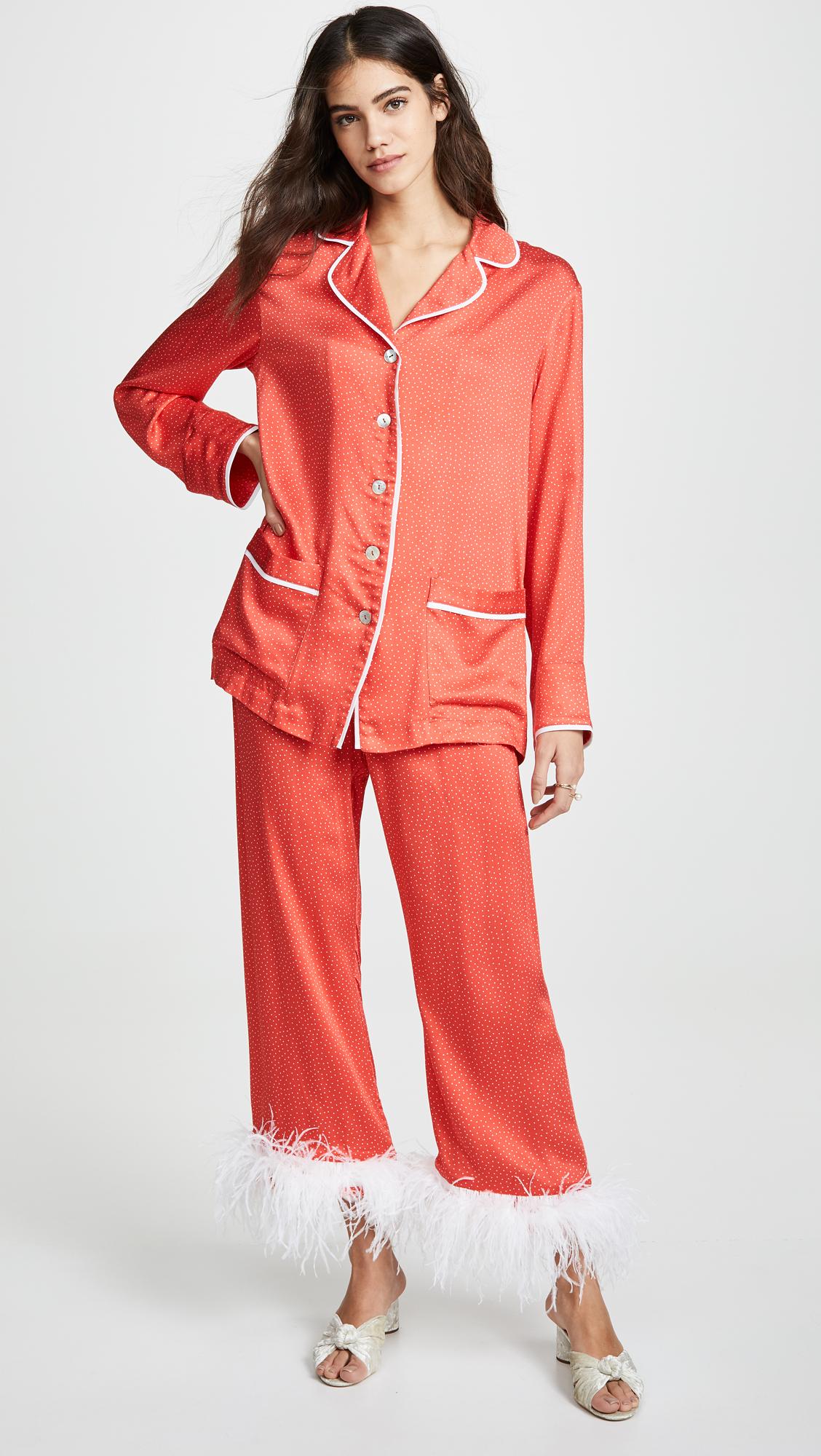Sleeper White Dots On Red Pajama Set