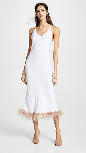 White Viscose Slip Dress by Sleeper