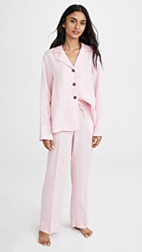 Relaxed Fit Linen Pajama Set