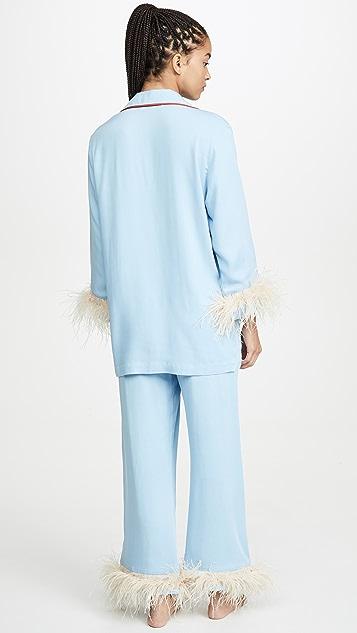 Sleeper Blue PJ Set With Feathers