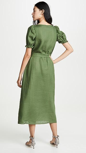Sleeper Brigitte Linen Midi Dress