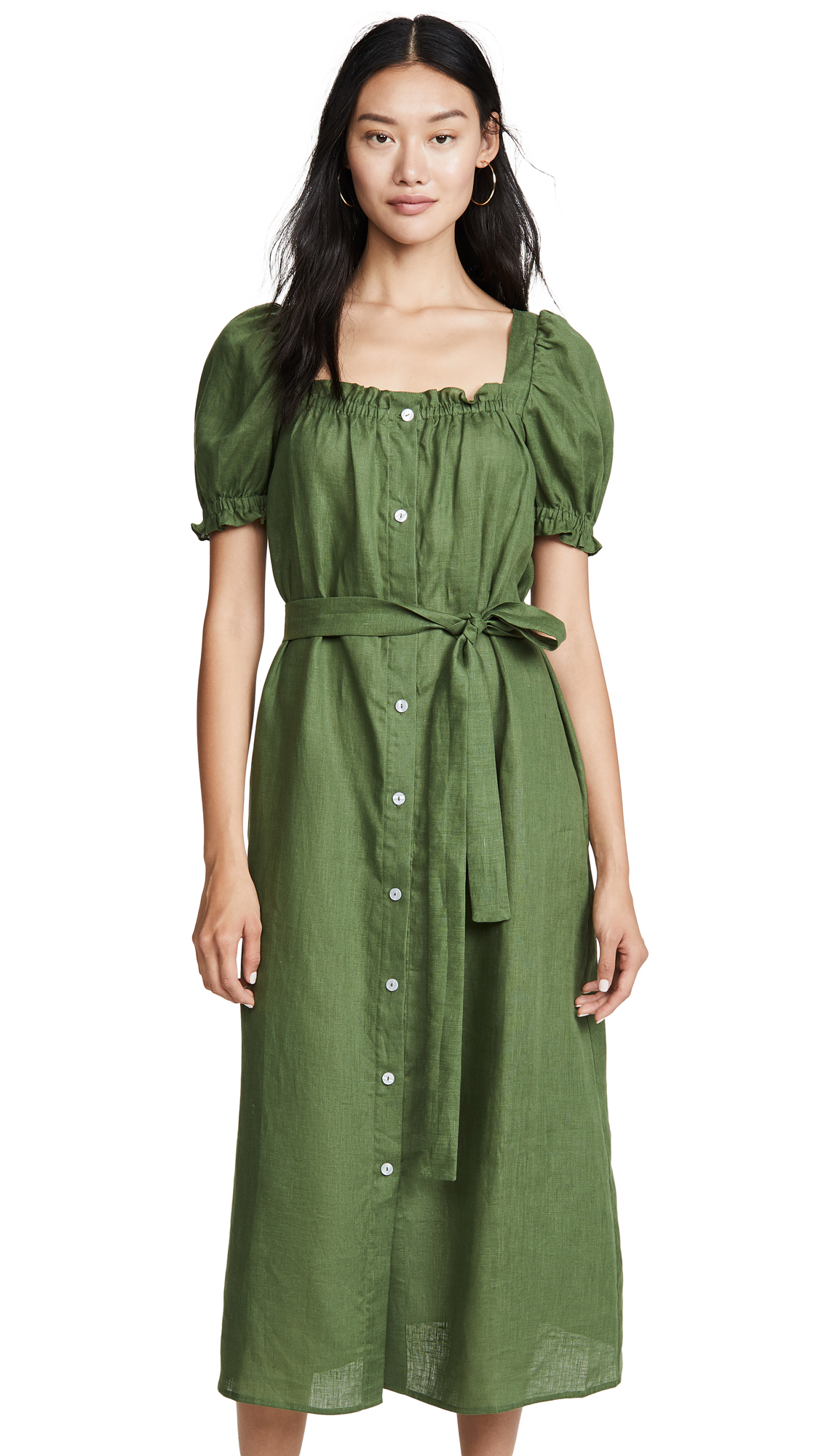 Sleeper Brigitte Linen Midi Dress