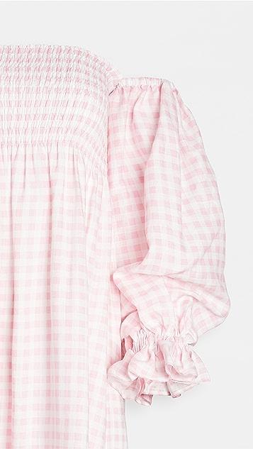 Sleeper Atlanta Linen Dress in Pink Vichy