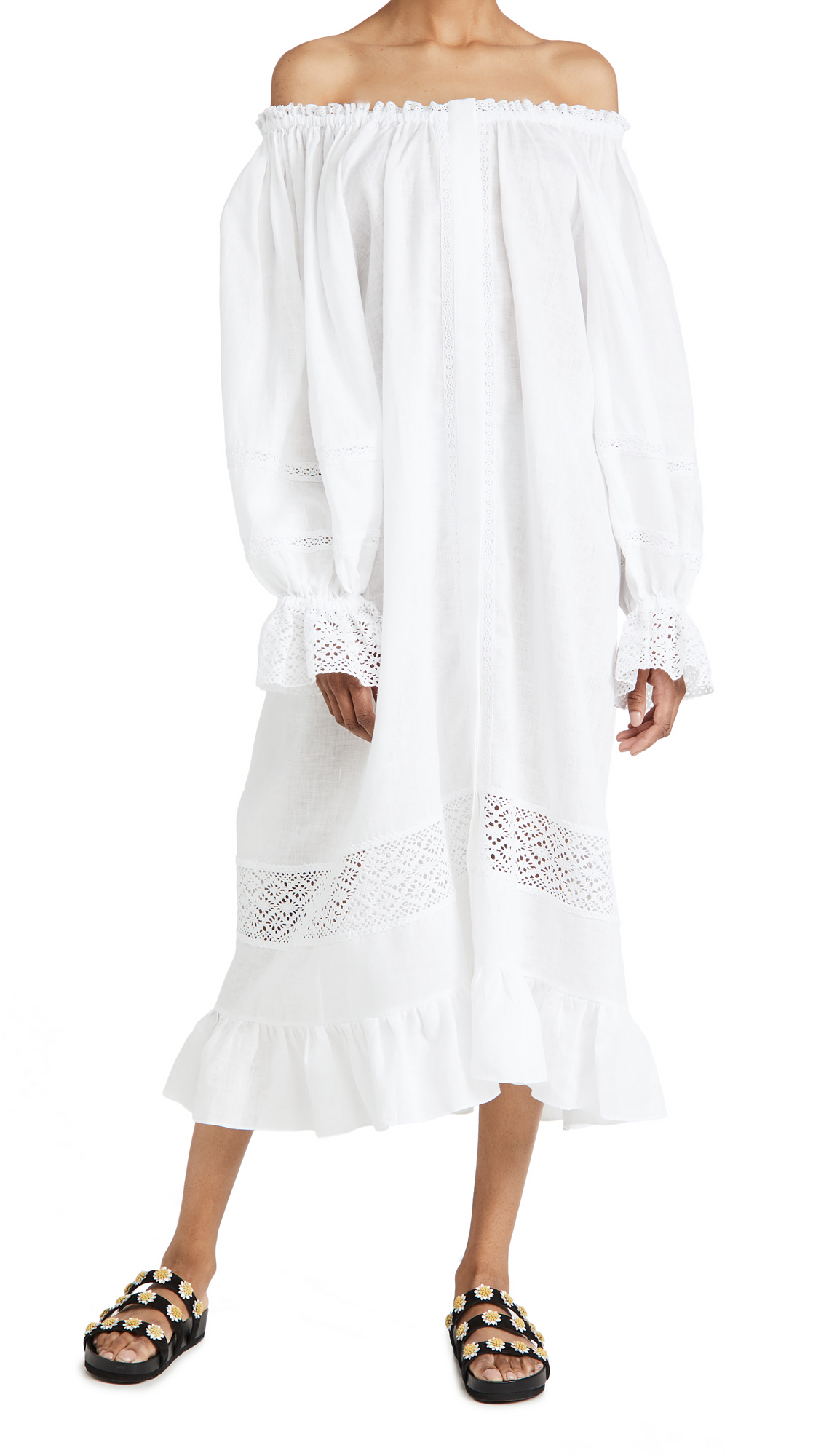 Sleeper Paloma Linen Dress in White