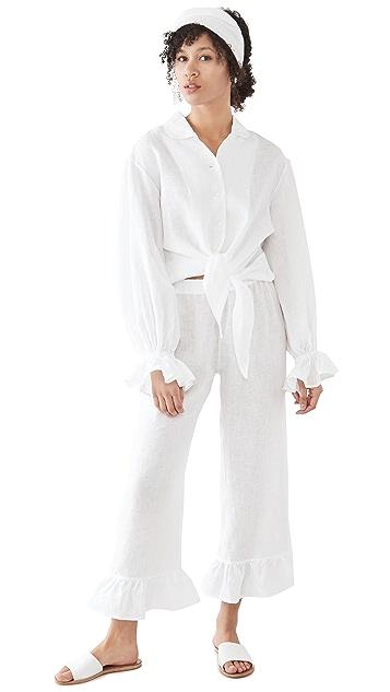 Sleeper Rumba Linen Lounge Suit In White