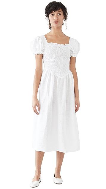 Sleeper Belle 白色亚麻连衣裙
