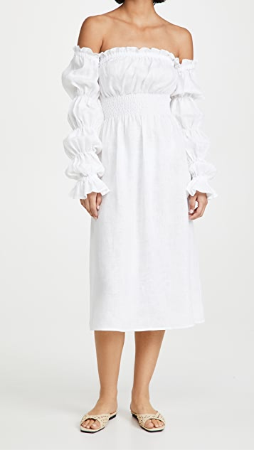 Sleeper Michelin 白色亚麻连衣裙