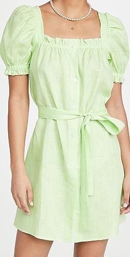 Sleeper - Brigitte Linen Mini Dress In Lime