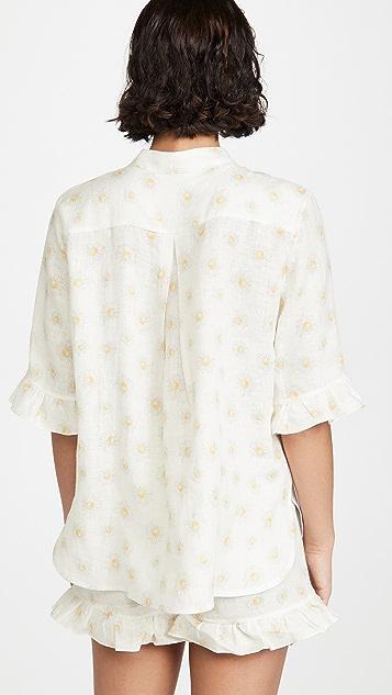 Sleeper Linen Lounge Suit In Daisies