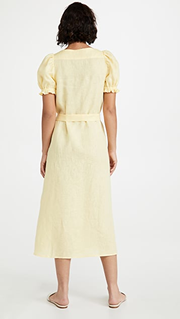 Sleeper Brigitte 柠檬图案中长亚麻连衣裙