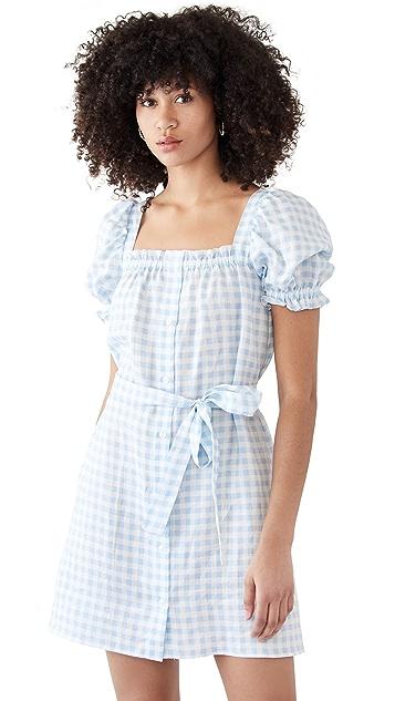 Sleeper Brigitte Linen Mini Dress In Blue Vichy