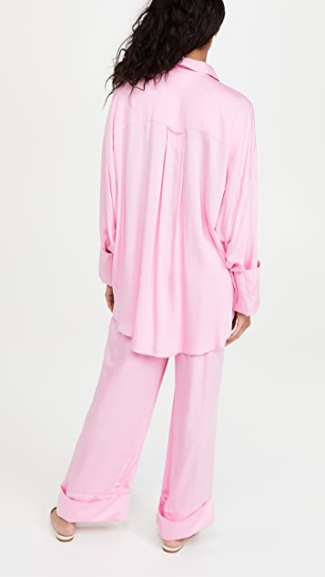 Sleeper Sizeless Viscose Pajama Set in Pink