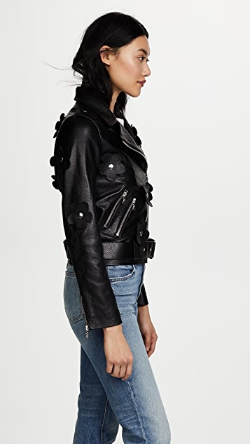Sandy Liang Petals Delancey Leather Jacket