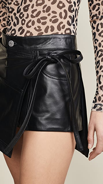 Sandy Liang Leather Perry Skirt