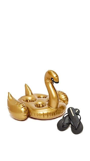 SunnyLife Inflatable Gold Swan Drink Holder