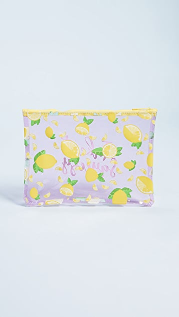 SunnyLife Transparent Lemon Beach Clutch