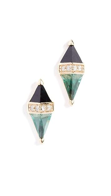 Sorellina 18k Diamond / Sapphire Pietra Stud Earrings