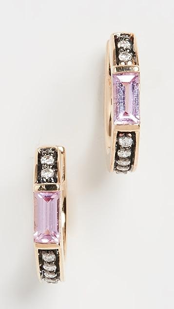 Sorellina 18k 宝石和钻石贴耳耳环