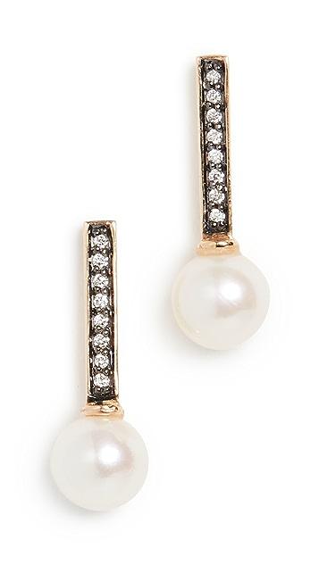 Sorellina 18k Diamond & Pearl Stick Studs