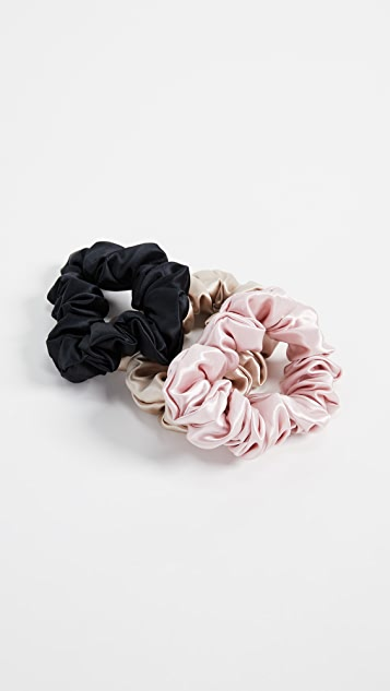 Slip Pure Silk Scrunchie Set - Pink/Caramel/Black