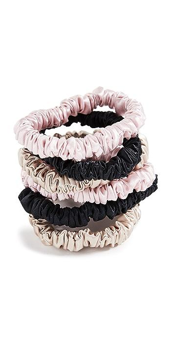 Slip Silk Scrunchies 6 Pack - Pink/Black/Tan